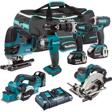 Makita 6 Piece Tool Kit 18V LXT 3 x 5.0Ah Batteries & Twin Port Charger T4TKIT-7501:18V