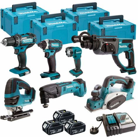 Makita 7 Piece Kit 18V Li-ion With 3x4Ah Batteries Charger T4TKIT-93:18V