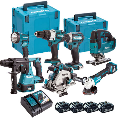 Makita 7 Piece Kit 18V Li-ion with 4x5.0Ah Batteries Charger T4TKIT-90:18V