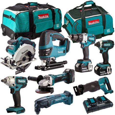 Makita 8 Piece Tool Kit 18V LXT 3 x 5.0Ah Batteries & Twin Port Charger T4TKIT-4350:18V