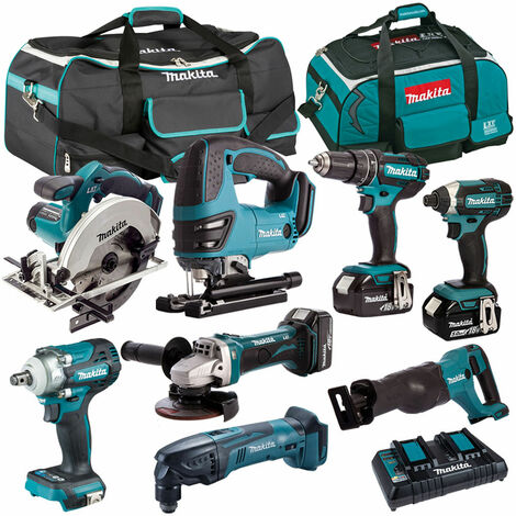 Makita 8 Piece Tool Kit 18V LXT 3 x 5.0Ah Batteries & Twin Port Charger T4TKIT-4371:18V