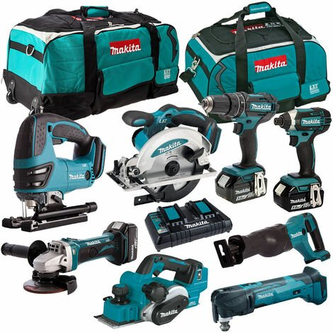 Makita 8 Piece Tool Kit 18V LXT 3 x 5.0Ah Batteries & Twin Port Charger T4TKIT-4395:18V