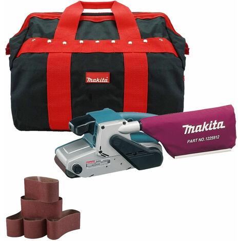 """Makita 9404 4"""" Belt Sander 110v & Dust Bag with 5 x Sanding Belts + Tool Bag"""