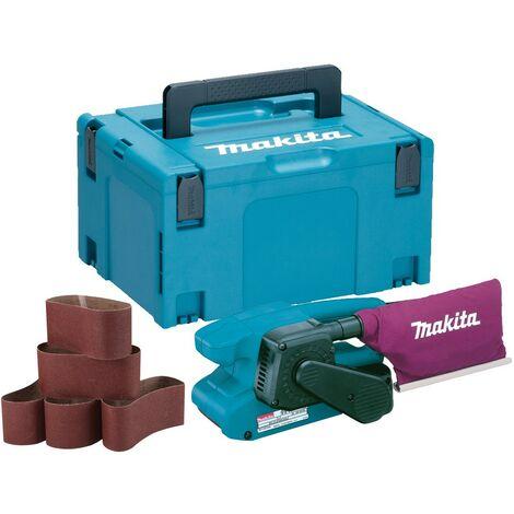 """Makita 9911 3"""" 75 x 457mm Belt Sander 240v + 6 Sanding Belts + Makpac Case"""
