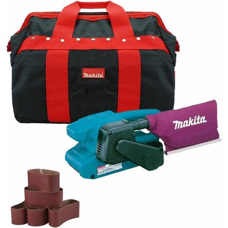"""Makita 9911 3"""" Belt Sander 110V & Dust Bag with 5 Sanding Belts + Tool Bag"""