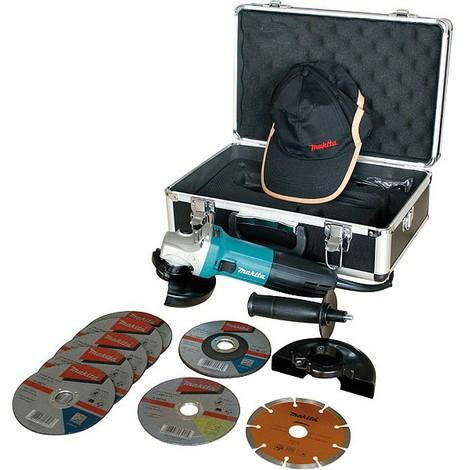 Makita - Amoladora de 125 mm 710 W + Kit Especial (9 discos, maletín aluminio, gorra) - GA5030KSP2