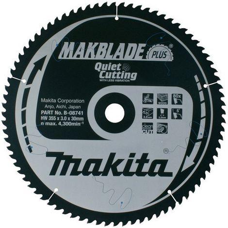 MAKITA B-08735 - Disco para ingletadora makblade corte silencioso 305x2.5 llanta 1.9 mm 70z 0 grados eje de 30