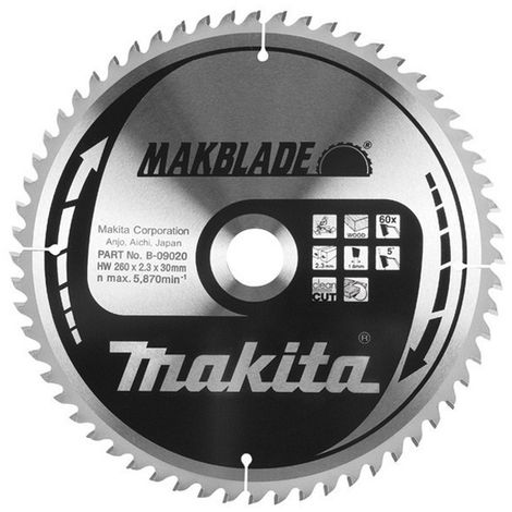 MAKITA B-09014 - Disco para ingletadora makblade 255x2.3 llanta 1.8 mm 60z 5 grados eje de 30