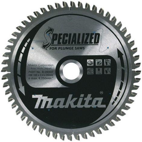 MAKITA B-09307 - Disco de sierra especial incision de 165x2.4 llanta 1.7 mm 56z -3 grados eje de 20