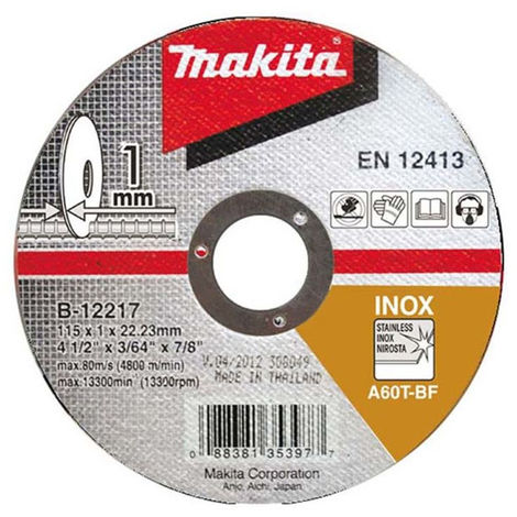 Makita B-12217-10 115mm X 22.23mm X 1mm Angle Grinder Metal Cutting Discs Pack Of 10