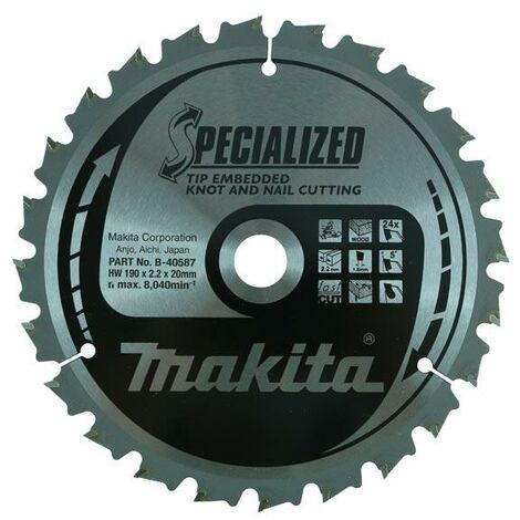 Makita B-40587 190mm x 20mm x 24T Specialized Mitre Saw Blade