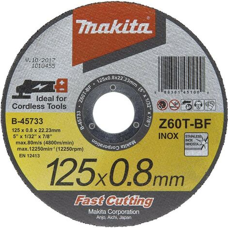 Makita B-45733 Fast Cutting Super Thin Metal Grinder Disc 125mm 0.8mm 22.23mm