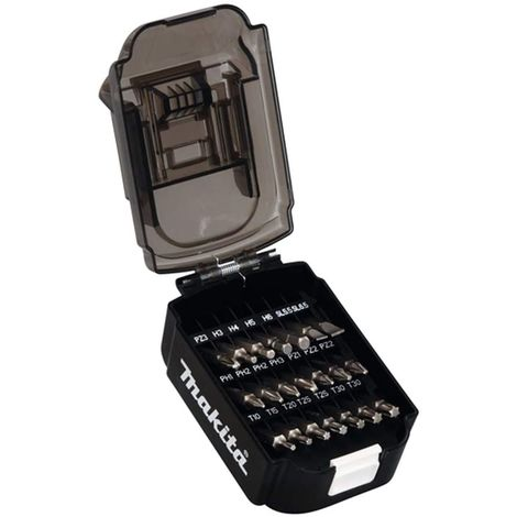 Makita B-68323 21 Piece Screwdriver Drill Bit Set Battery Shaped Case Bit Holder