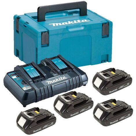 "main image of ""Makita BL1815 18v 4 x 1.5ah Lithium Batteries DC18RD Dual Port Charger + Makpac"""