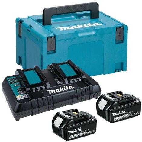 Makita BL1830 18v 2 x 3.0ah Lithium Batteries DC18RD Dual Port Charger + Makpac