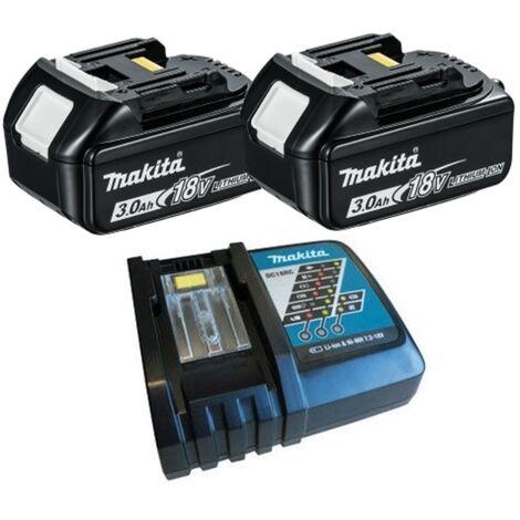 Makita BL1830 18V LXT Li-Ion 3.0Ah Battery Twin Pack & DC18RC Charger Kit
