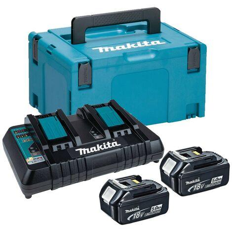 Makita BL1850 18v 2 x 5.0ah Lithium Batteries DC18RD Dual Port Charger + Makpac