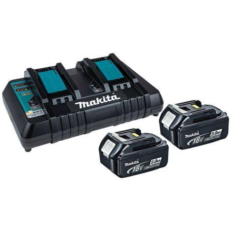 Makita BL1850 18v 2 x LXT 5.0ah Lithium-Ion Batteries + DC18RD Dual Port Charger
