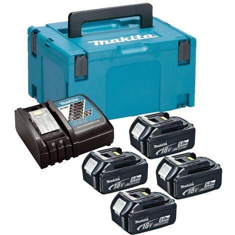 Makita BL1850 18v 4 x 5.0ah Lithium Batteries DC18RC Fast Charger + Makpac Case