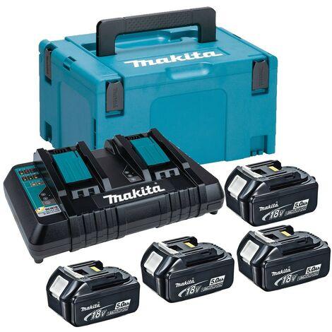 Makita BL1850 18v 4 x 5.0ah Lithium Batteries DC18RD Dual Port Charger + Makpac