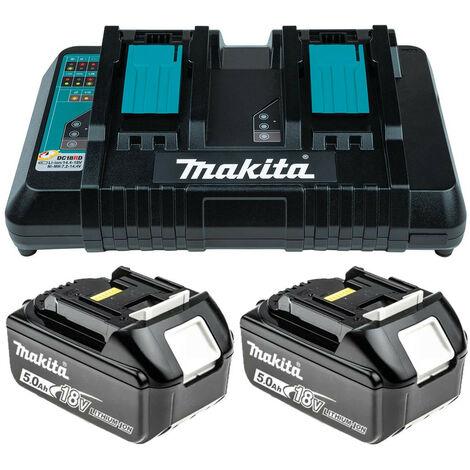 Makita BL1850 18V 5.0Ah LXT 2 Lithium-Ion Batteries & DC18RD Charger Bundle