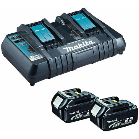Makita BL1850XDC18RD 18V 2 x 5.0Ah Batteries and Dual Port Charger
