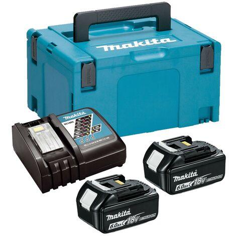 Makita BL1860 18v 2 x 6.0ah Lithium Batteries DC18RC Fast Charger + Makpac Case