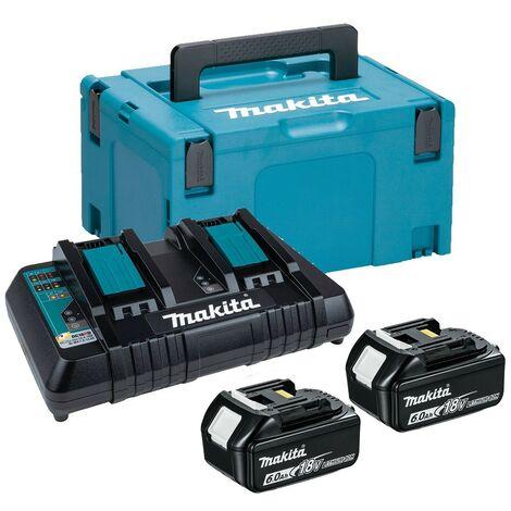 Makita BL1860 18v 2 x 6.0ah Lithium Batteries DC18RD Dual Port Charger + Makpac