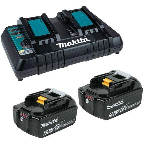 Makita BL1860 18v 2 x LXT 6.0ah Lithium-Ion Batteries + DC18RD Dual Port Charger