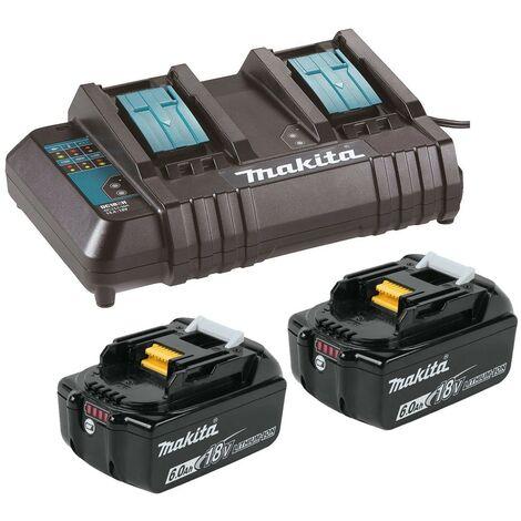 "main image of ""Makita BL1860 18v 2 x LXT 6.0ah Lithium-Ion Batteries + DC18SH Dual Port Charger"""