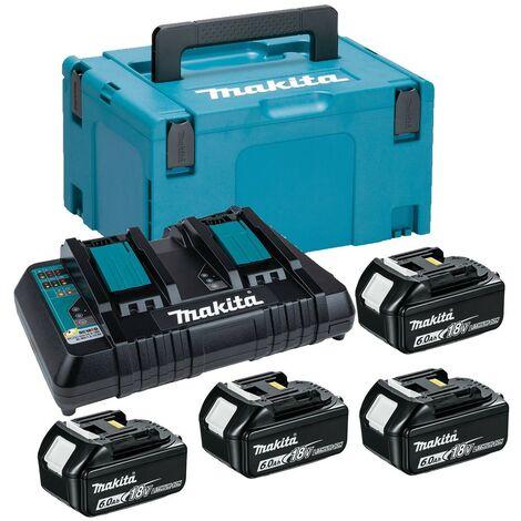 Makita BL1860 18v 4 x 6.0ah Lithium Batteries DC18RD Dual Port Charger + Makpac