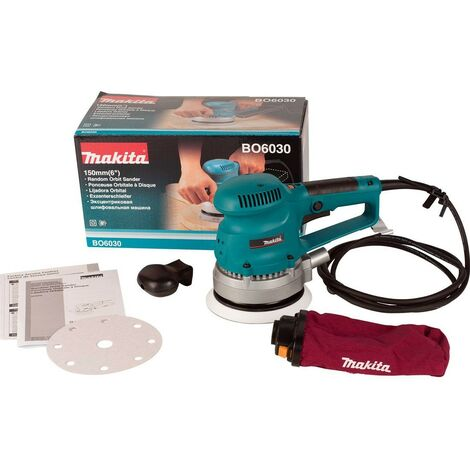 "Makita BO6030 110v Corded Random Orbital Sander 150mm 6"" + Wrench & Dust Bag"