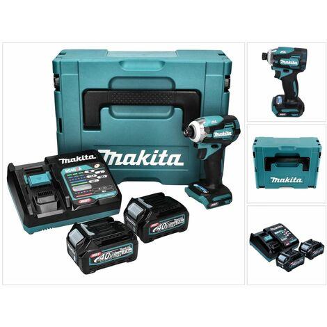 Makita Clé à chocs sans fil 40V, 2 x batterie 2,5 Ah, chargeur rapide et MAKPAC - TD001GD201