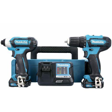 Makita CLX224AJ 10.8V/12V MAX CXT Drill & Impact Driver Twin Kit + 2 x 2Ah Batteries, Charger & Case