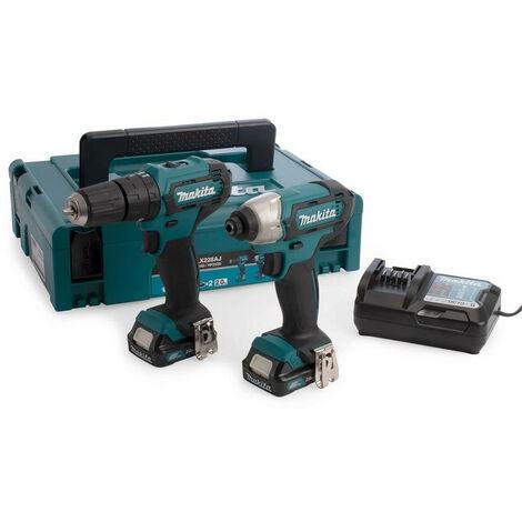 Makita CLX228AJ 12V Max Cordless Twin Pack Combi Drill & Impact Driver 2x 2ah Batteries