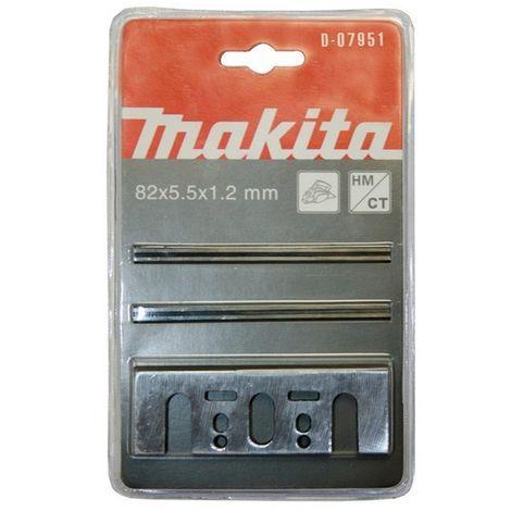 MAKITA D-07951 - Conjunto de 2 mini-cuchillas con placas de 82 mm para cepillos 1100 1923b kp0800 kp0810/c