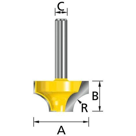 MAKITA D-09363 - Fresa para madera redondeado sin rodamiento pinza (c) 6 mm (a) 25 mm (b) 13 mm (r) 8 mm
