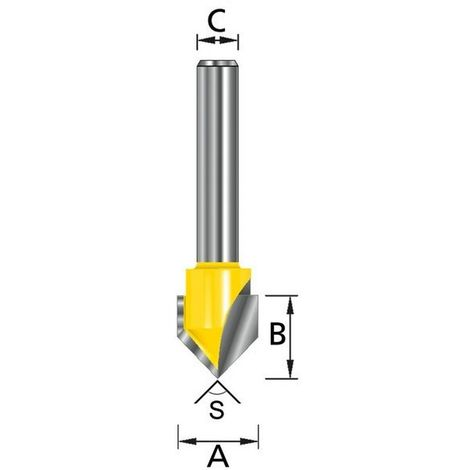 MAKITA D-09385 - Fresa para madera en v pinza (c) 6 mm (a) 20 mm (b) 15 mm (s) 45 grados