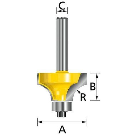 MAKITA D-09525 - Fresa para madera molduras con rodamiento pinza (c) 6 mm (a) 20 mm (b) 10 mm (r) 4 mm