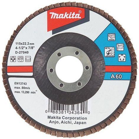 MAKITA D-27062 - Disco de laminas 115 curvo de oxido de aluminio grano 120 con cuerpo de fibra de vidrio