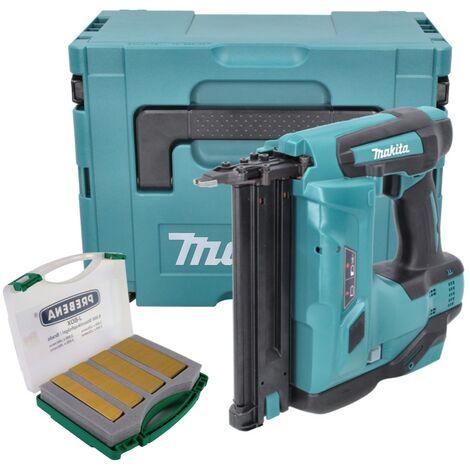 Makita DBN 500 ZJ Cloueur pneumatique sans fil 15-50 mm 90° 18 V + Clous pour cloueurs J-Box 8000 pièces + Coffret MakPac - sans batterie sans chargeur