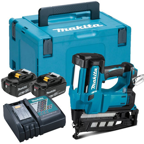 Makita DBN600RTJ 18V 16Ga Finish Nailer with 2 x 5.0Ah Batteries charges & Case:18V