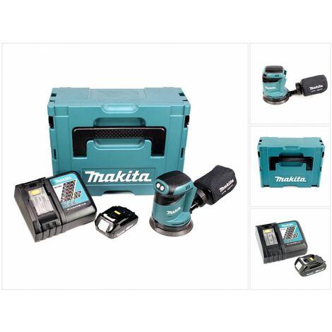Makita DBO 180 RY1J Lijadora rotorbital a batería 18V / 125 mm en Makpac 2 + 1x Batería BL 1815 + Cargador DC 18 RC