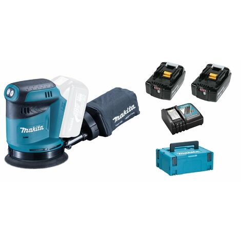 Makita DBO180RTJ Ponceuse excentrique à batteries 18V Li-Ion set (2x batterie 5,0Ah) dans MAKPAC - 125mm