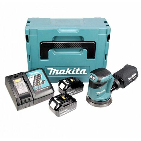 Makita DBO180RTJ Ponceuse excentrique à batteries 18V Li-Ion set (2x batterie 5,0Ah) dans MAKPAC - 125mm