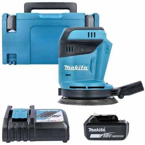 Makita DBO180Z 18V li-ion Random Orbit Sander With 1 x 3Ah Battery, Charger & Case