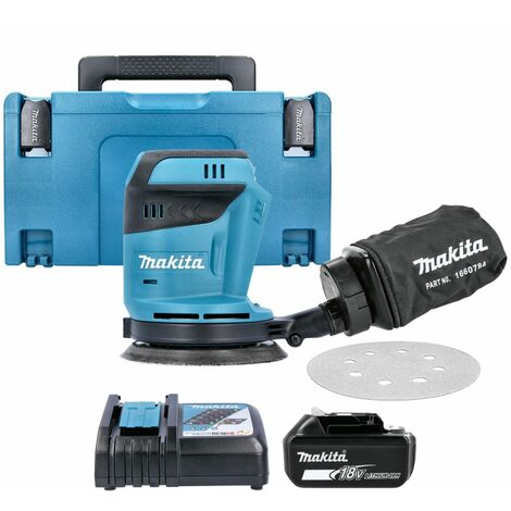 Makita DBO180Z 18V li-ion Random Orbit Sander With 1 x 5Ah Battery, Charger & Case