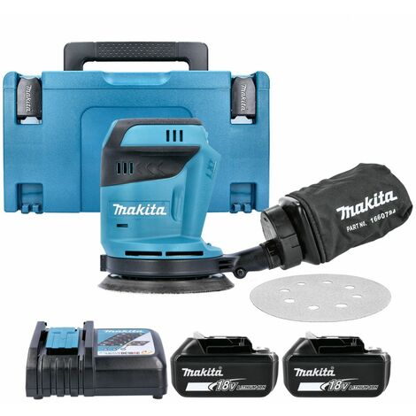 Makita DBO180Z 18V li-ion Random Orbit Sander With 2 x 5Ah Batteries, Charger & Case