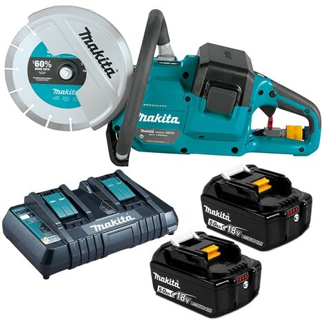 "Makita DCE090T2X1 18v / 36v 9"" Cordless Brushless Power Disc Cutter Saw 2 x5.0ah"