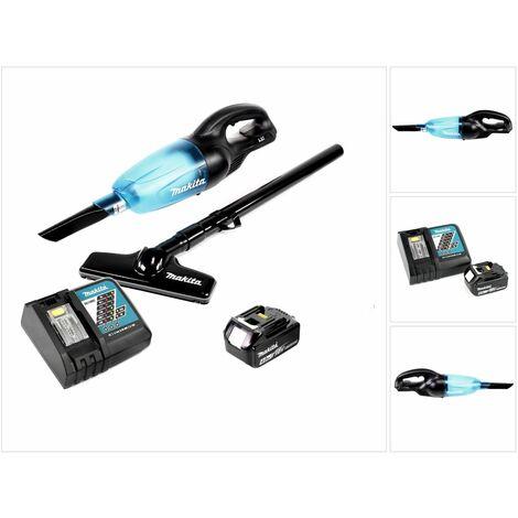 Makita DCL 180 B 18V Li-Ion Aspirateur compact sans fil Noir + 1x Batterie BL 1840 4,0 Ah + Chargeur rapide DC 18 RC